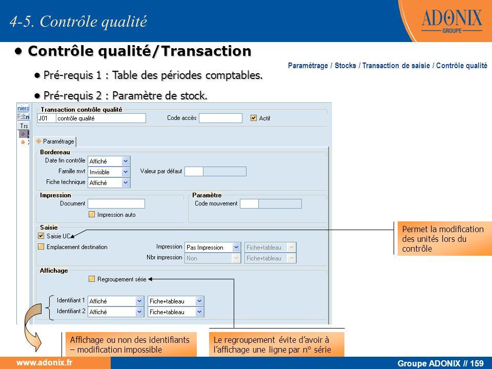 • Contrôle qualité/Transaction