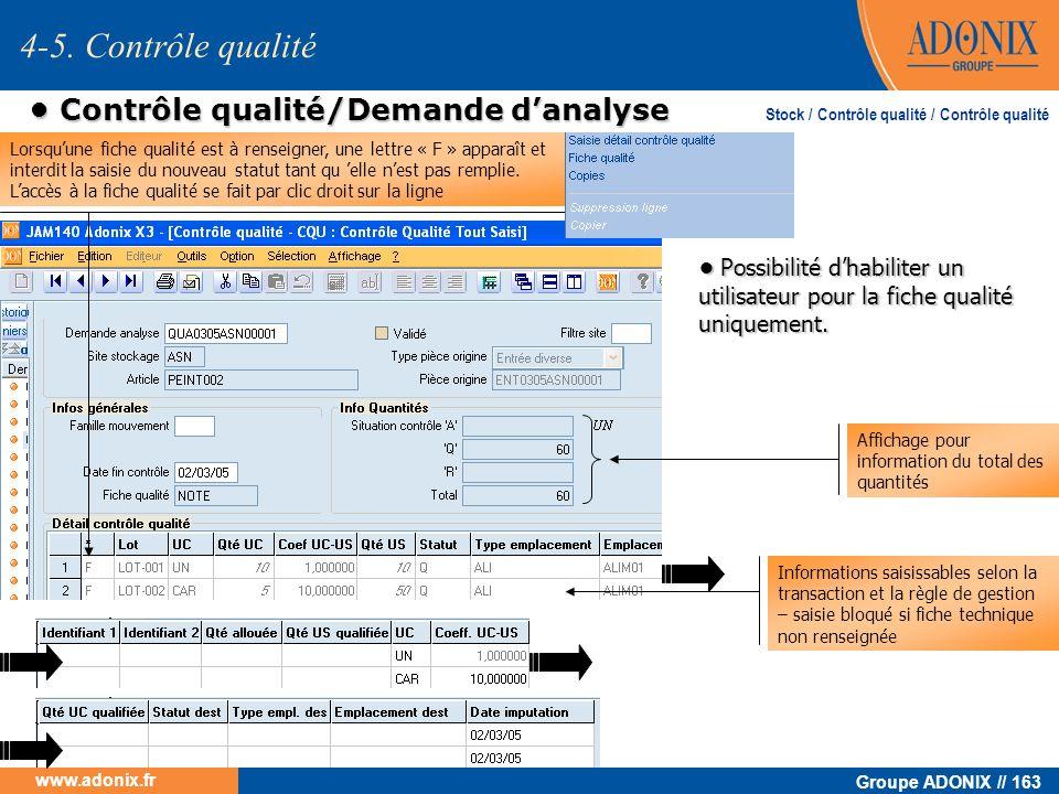 • Contrôle qualité/Demande d'analyse