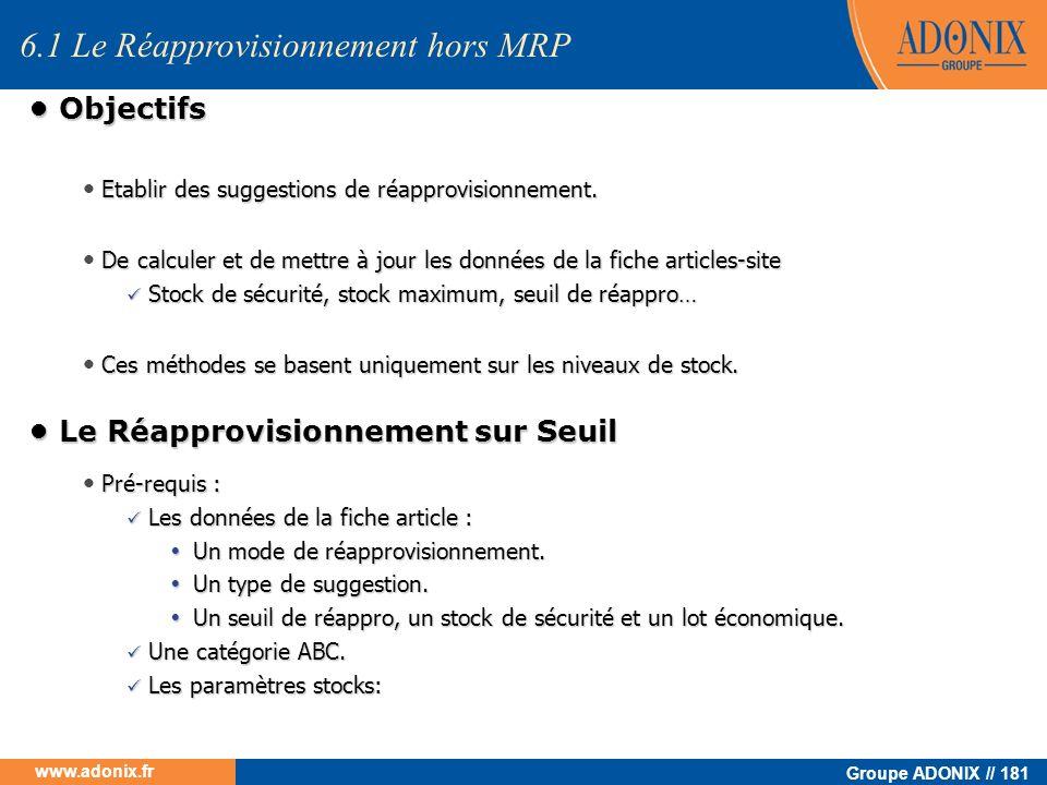 6.1 Le Réapprovisionnement hors MRP