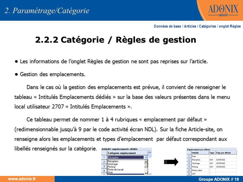 2.2.2 Catégorie / Règles de gestion