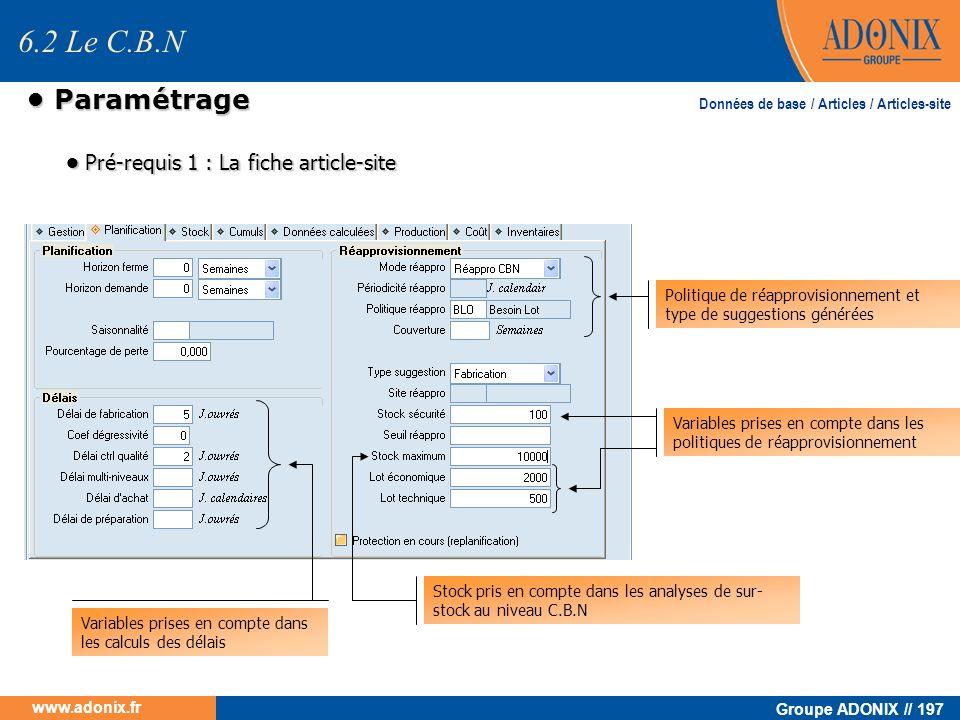 6.2 Le C.B.N • Paramétrage • Pré-requis 1 : La fiche article-site