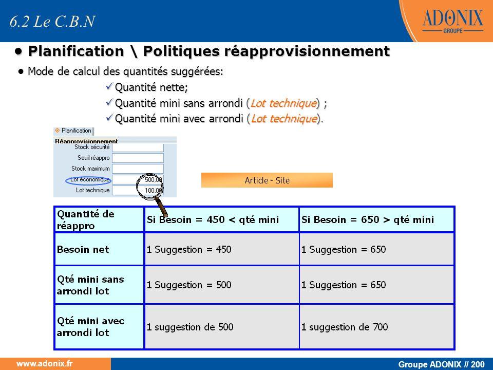 • Planification \ Politiques réapprovisionnement