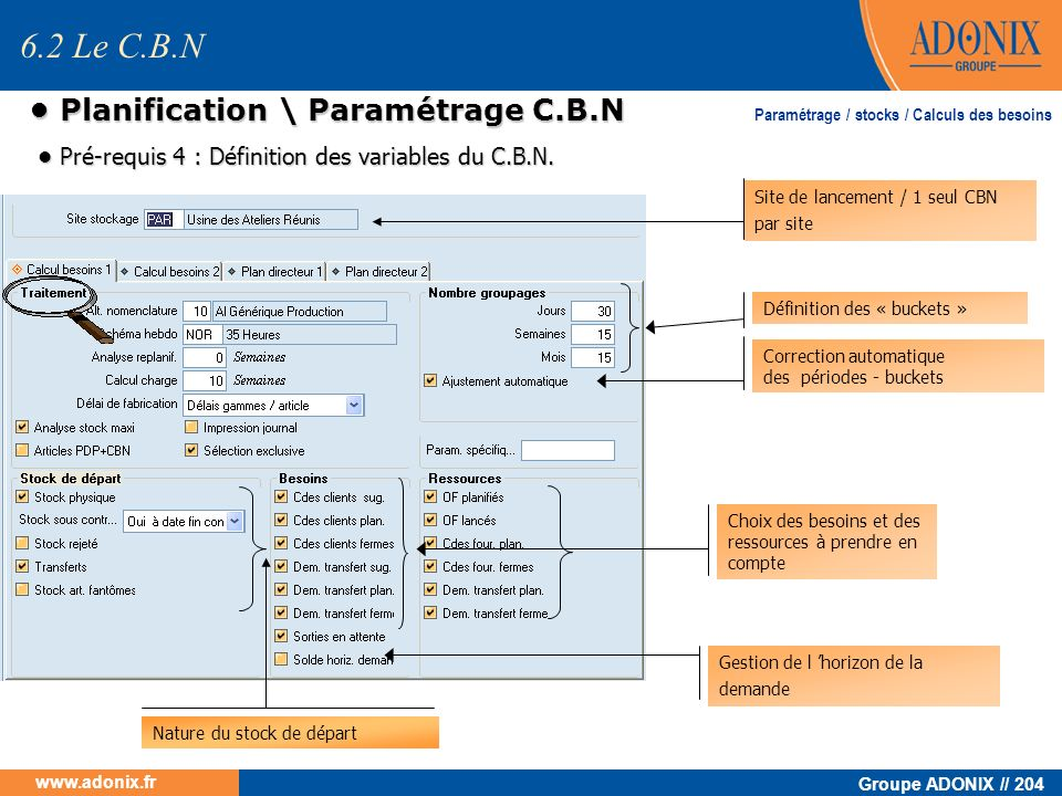 • Planification \ Paramétrage C.B.N