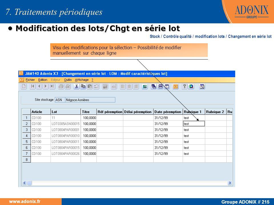 • Modification des lots/Chgt en série lot