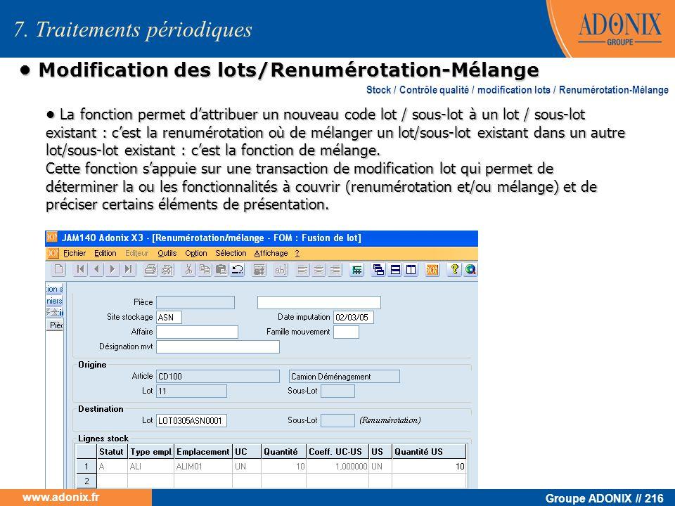 • Modification des lots/Renumérotation-Mélange