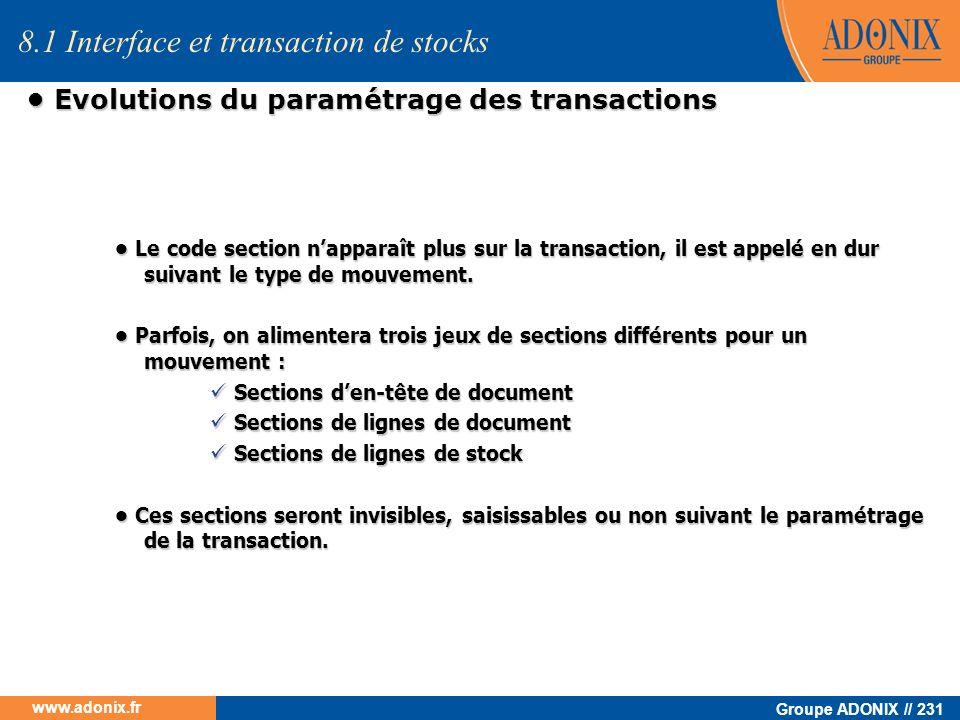 • Evolutions du paramétrage des transactions