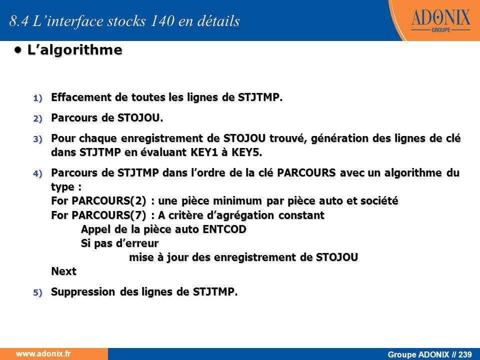 8.4 L'interface stocks 140 en détails