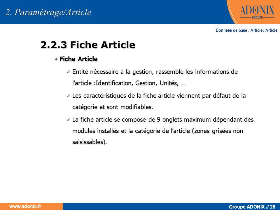2. Paramétrage/Article 2.2.3 Fiche Article • Fiche Article