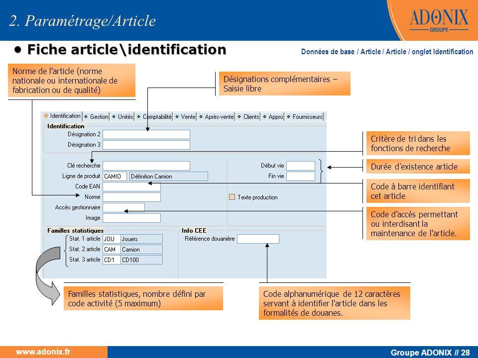 • Fiche article\identification