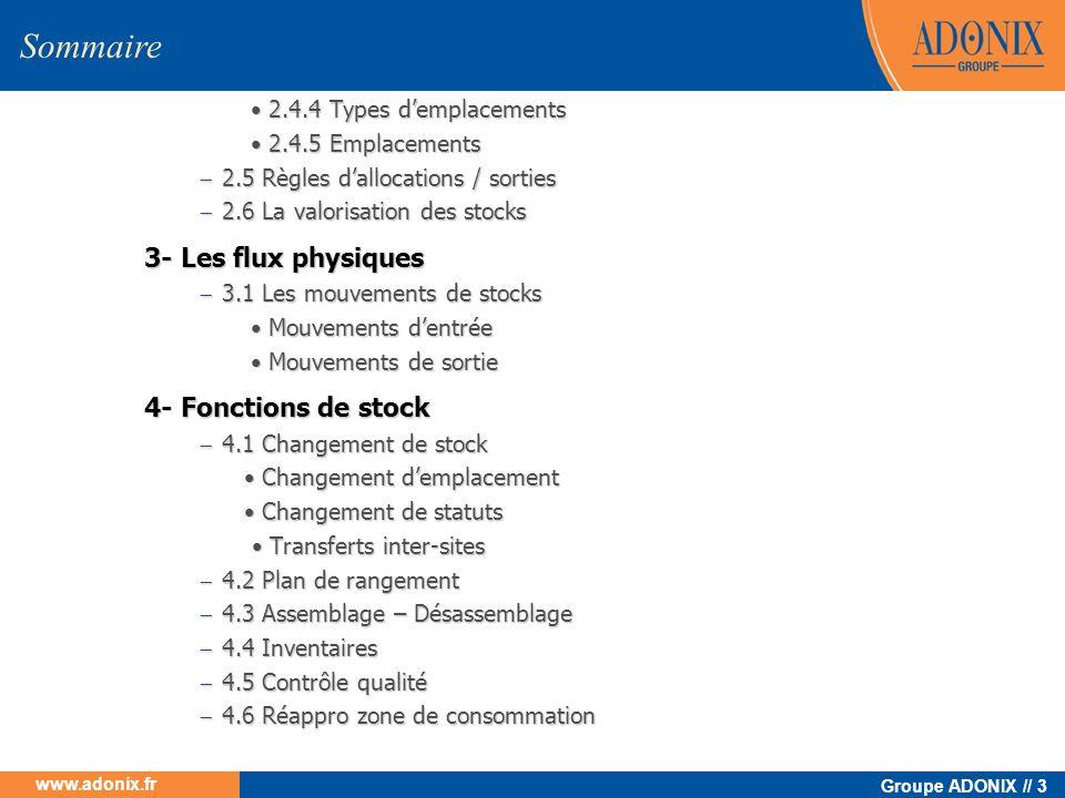 Sommaire 3- Les flux physiques 4- Fonctions de stock