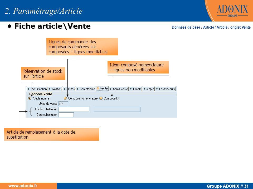 2. Paramétrage/Article • Fiche article\Vente