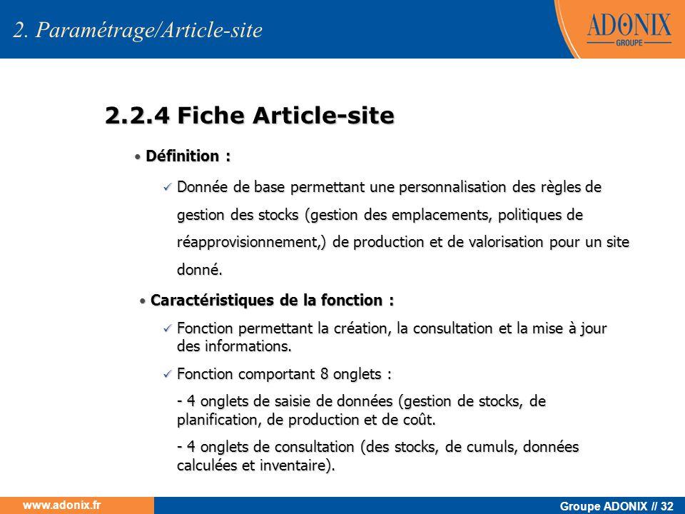 2. Paramétrage/Article-site