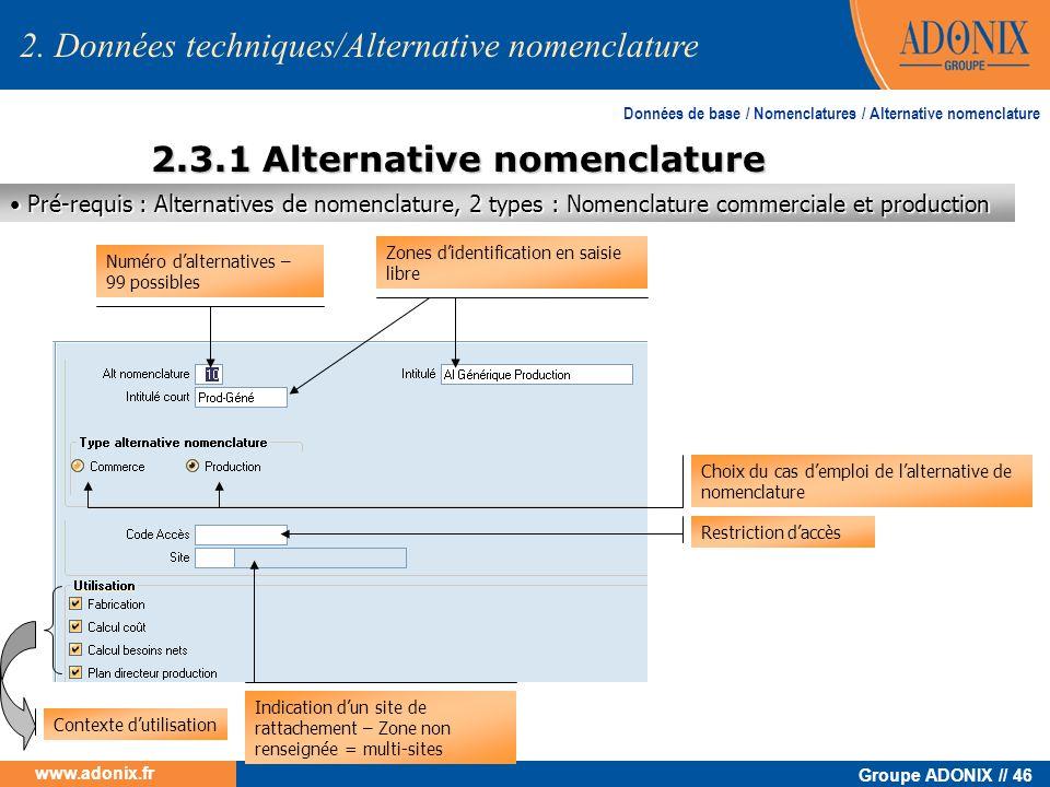 2.3.1 Alternative nomenclature