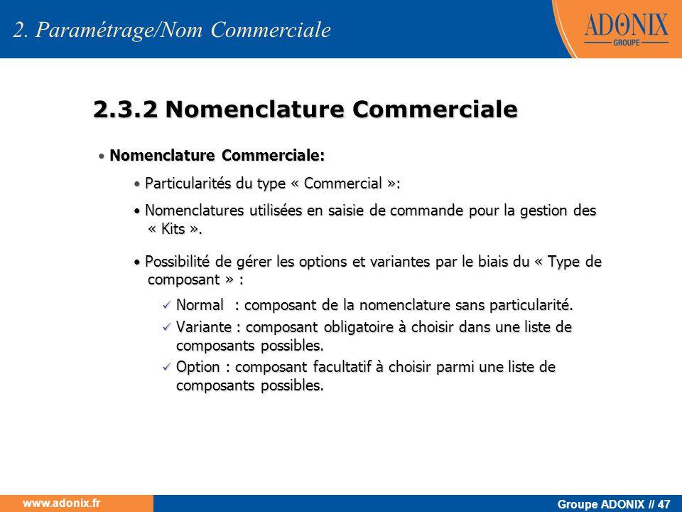 2.3.2 Nomenclature Commerciale