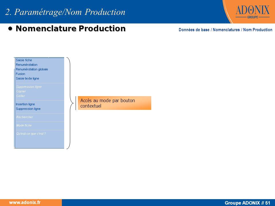 • Nomenclature Production