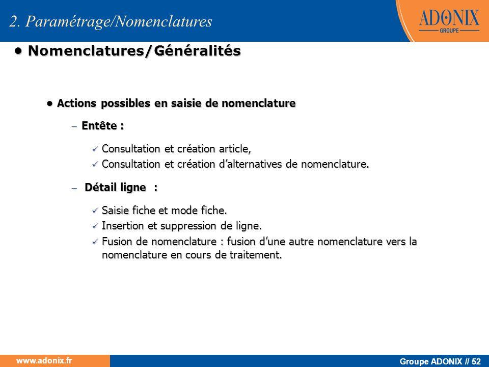 • Nomenclatures/Généralités