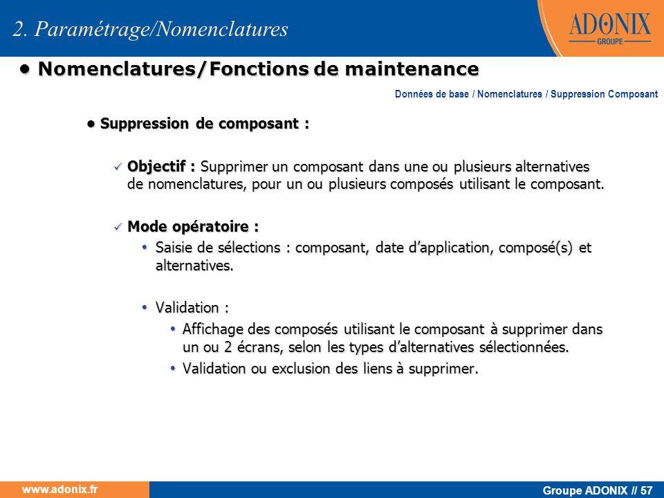 • Nomenclatures/Fonctions de maintenance