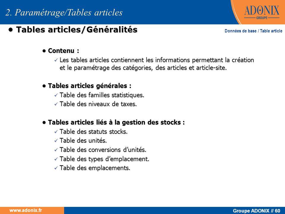 • Tables articles/Généralités