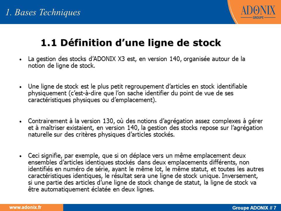 1.1 Définition d'une ligne de stock
