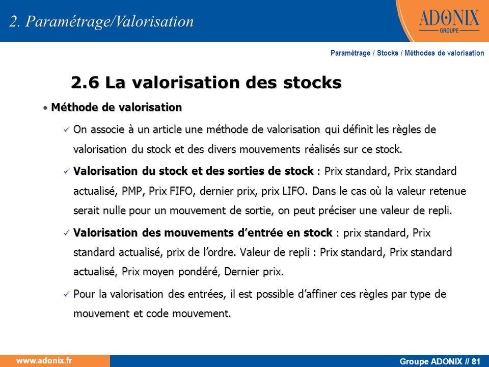 2.6 La valorisation des stocks