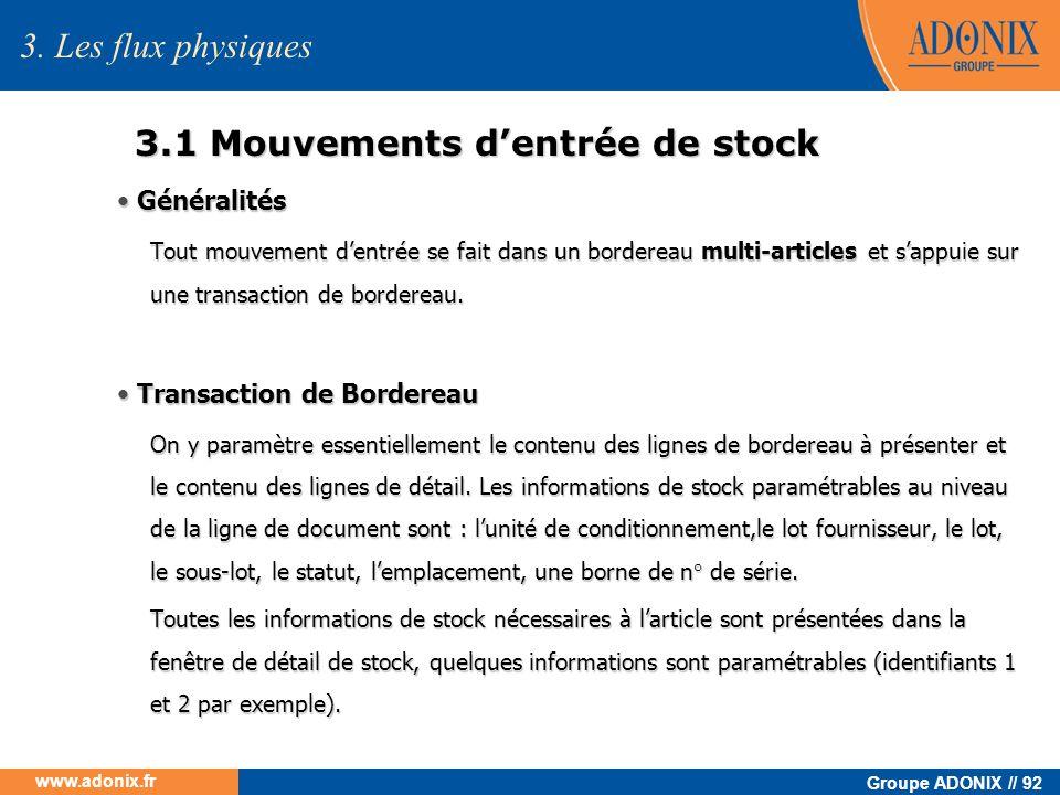 3.1 Mouvements d'entrée de stock