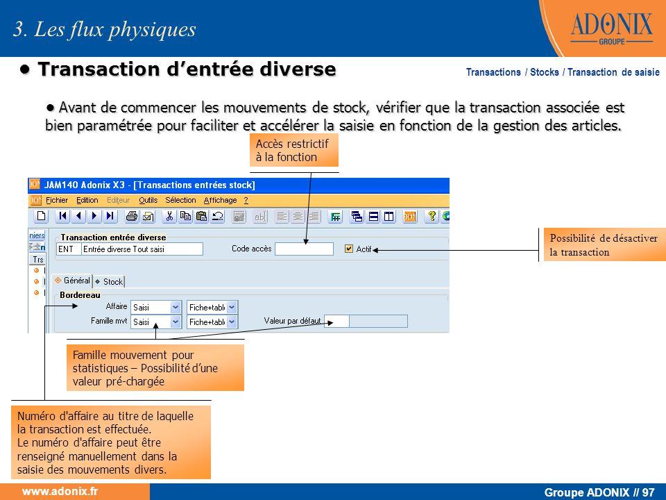 • Transaction d'entrée diverse