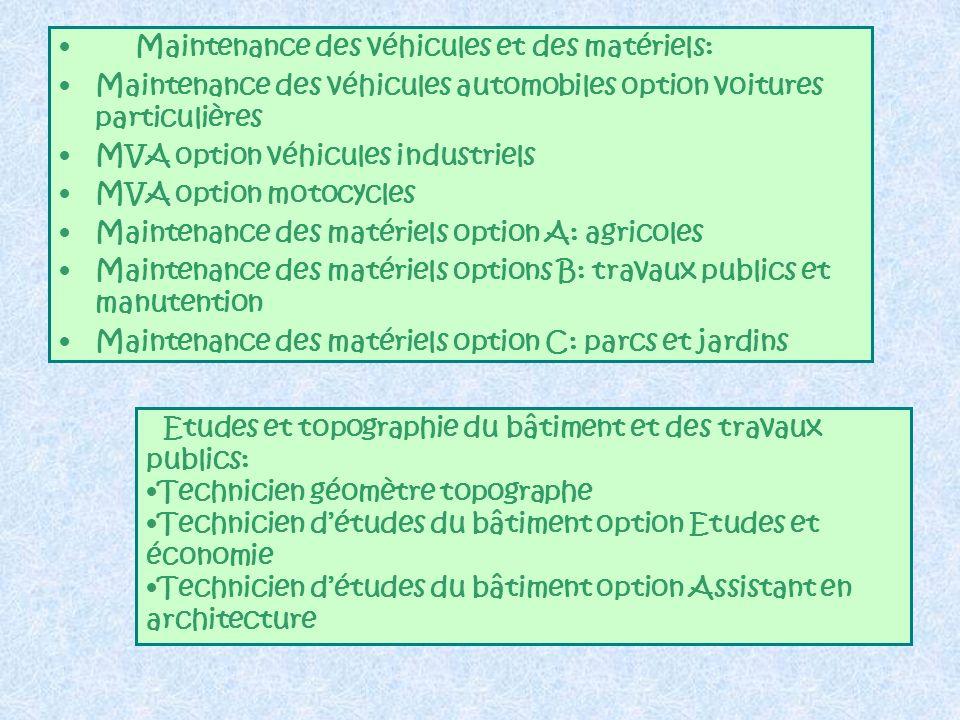 Maintenance des véhicules et des matériels: