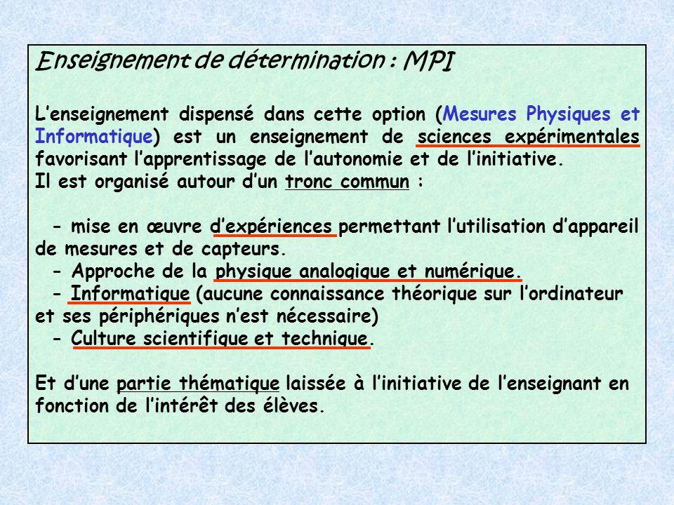 Enseignement de détermination : MPI