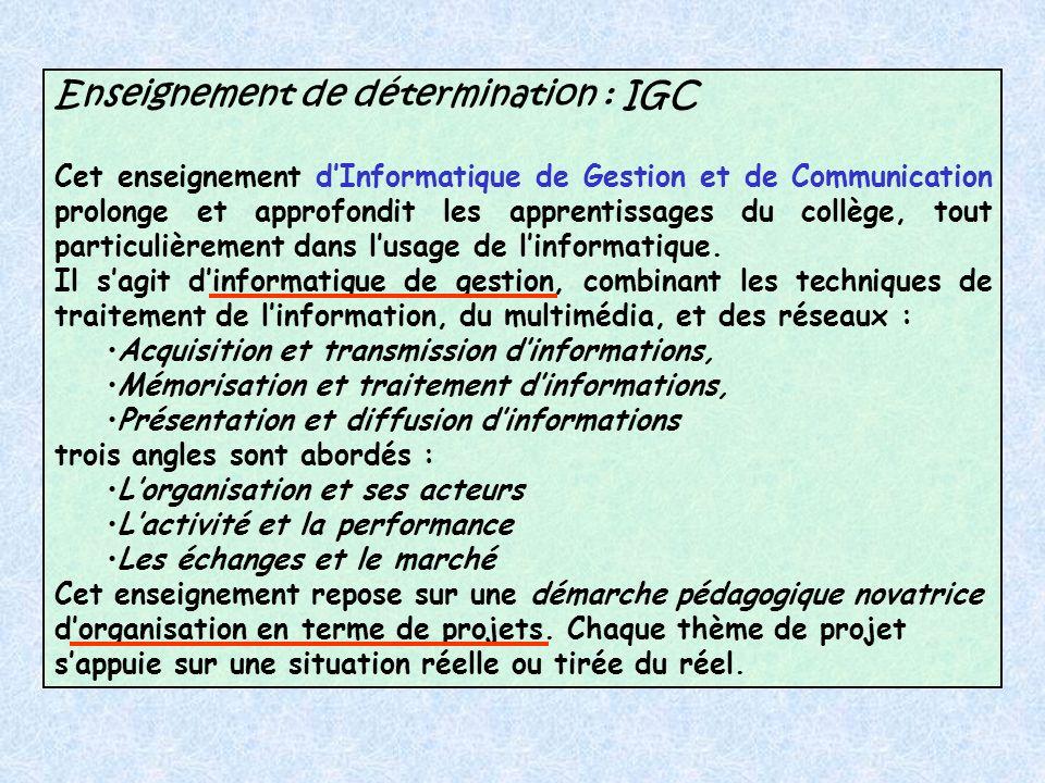 Enseignement de détermination : IGC