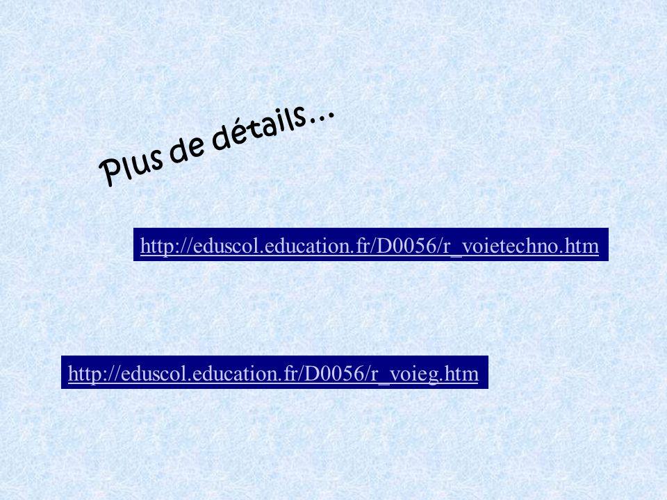 Plus de détails… http://eduscol.education.fr/D0056/r_voietechno.htm
