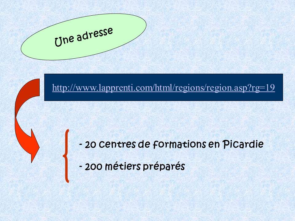 Une adresse http://www.lapprenti.com/html/regions/region.asp rg=19. - 20 centres de formations en Picardie.
