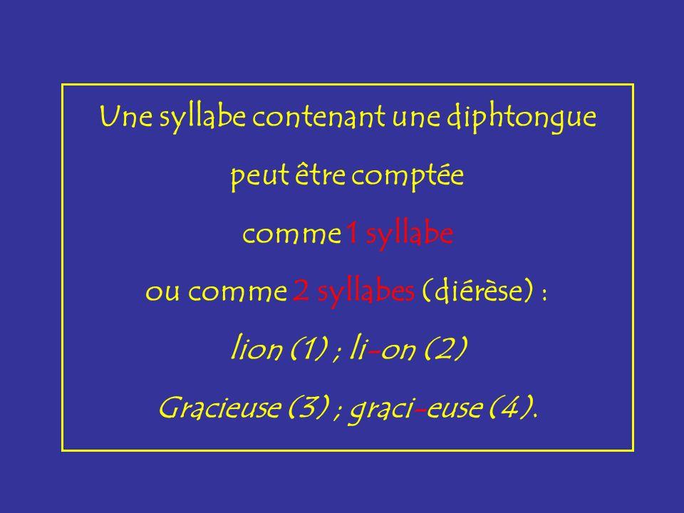 Une syllabe contenant une diphtongue peut être comptée comme 1 syllabe