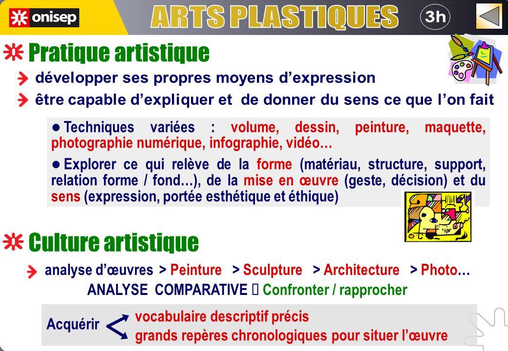 ARTS PLASTIQUES 3h Pratique artistique Culture artistique