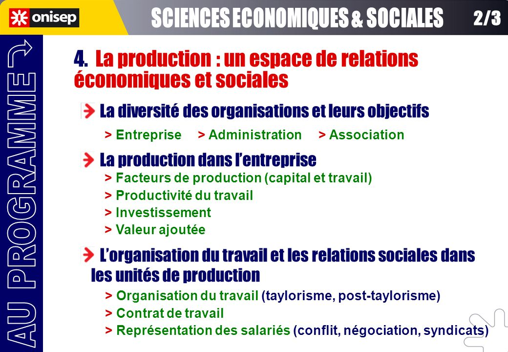 SCIENCES ECONOMIQUES & SOCIALES
