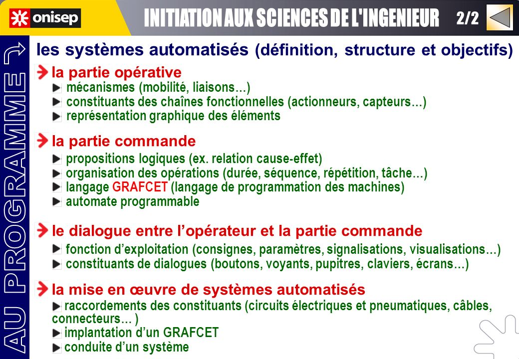 INITIATION AUX SCIENCES DE L INGENIEUR