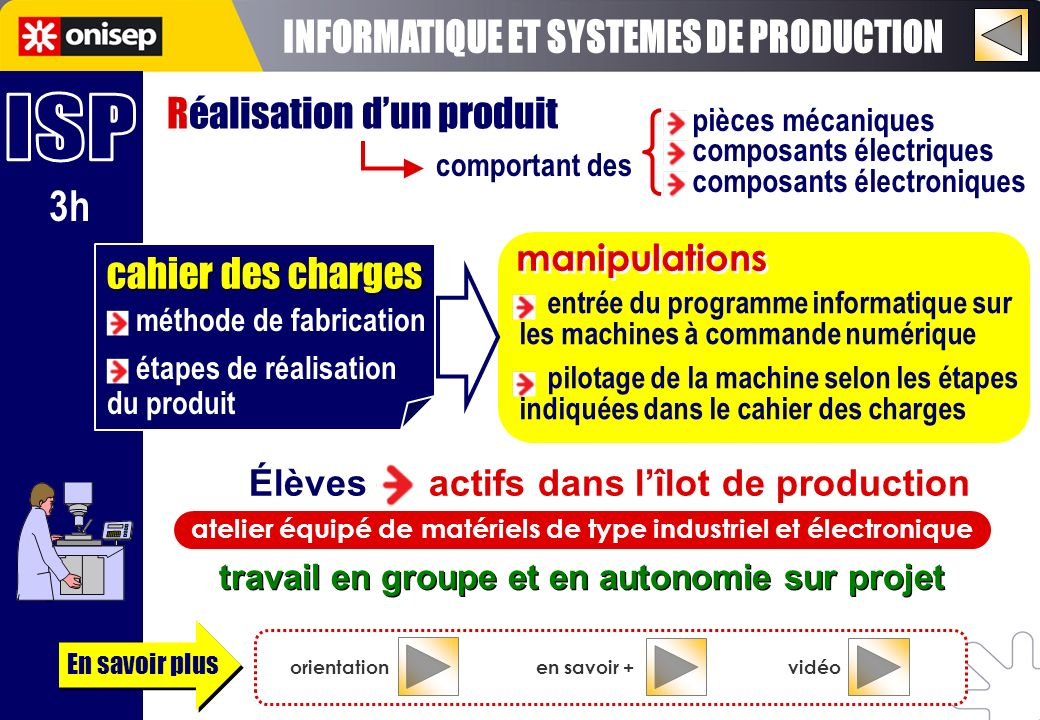 INFORMATIQUE ET SYSTEMES DE PRODUCTION ISP