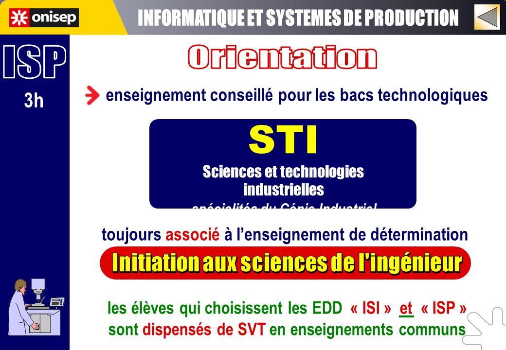 STI INFORMATIQUE ET SYSTEMES DE PRODUCTION ISP Orientation