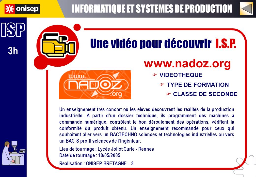 INFORMATIQUE ET SYSTEMES DE PRODUCTION