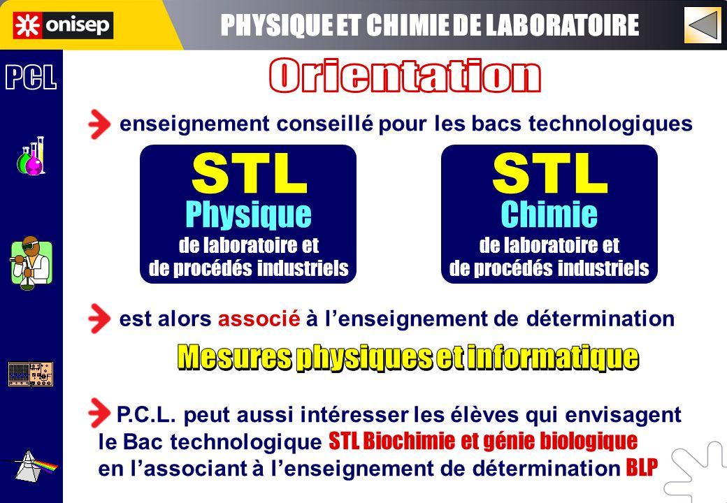 STL STL STL Chimie PHYSIQUE ET CHIMIE DE LABORATOIRE Orientation PCL