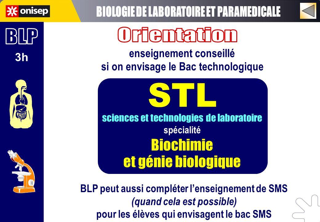 STL BIOLOGIE DE LABORATOIRE ET PARAMEDICALE Orientation BLP Biochimie