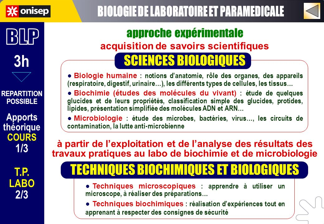3h BIOLOGIE DE LABORATOIRE ET PARAMEDICALE BLP SCIENCES BIOLOGIQUES