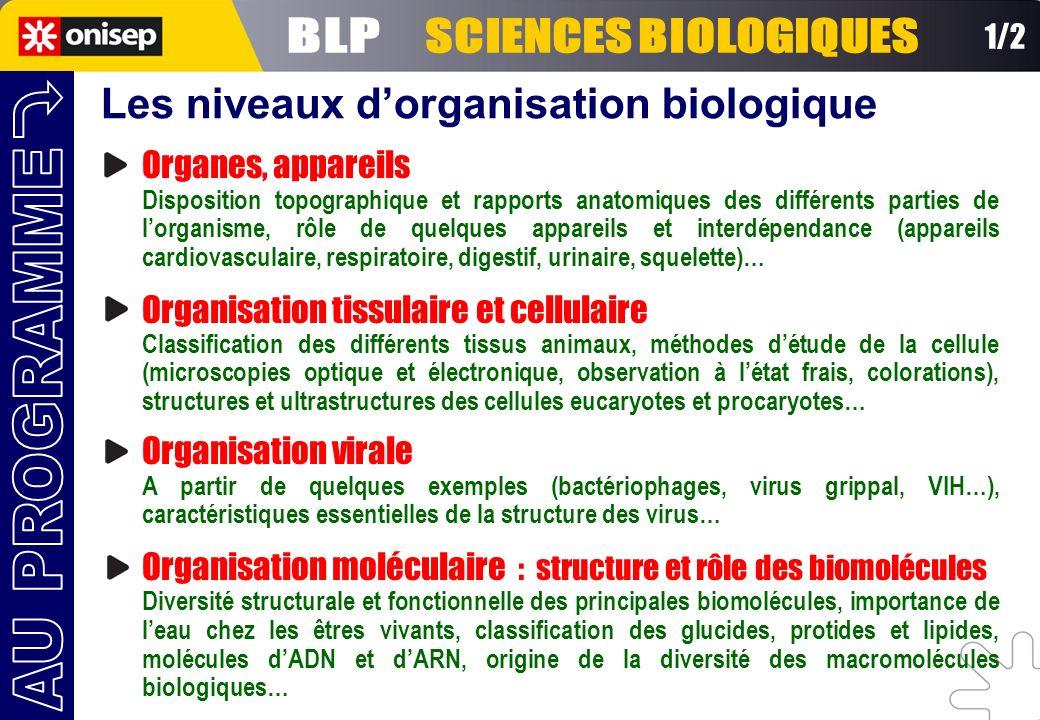 BLP SCIENCES BIOLOGIQUES AU PROGRAMME