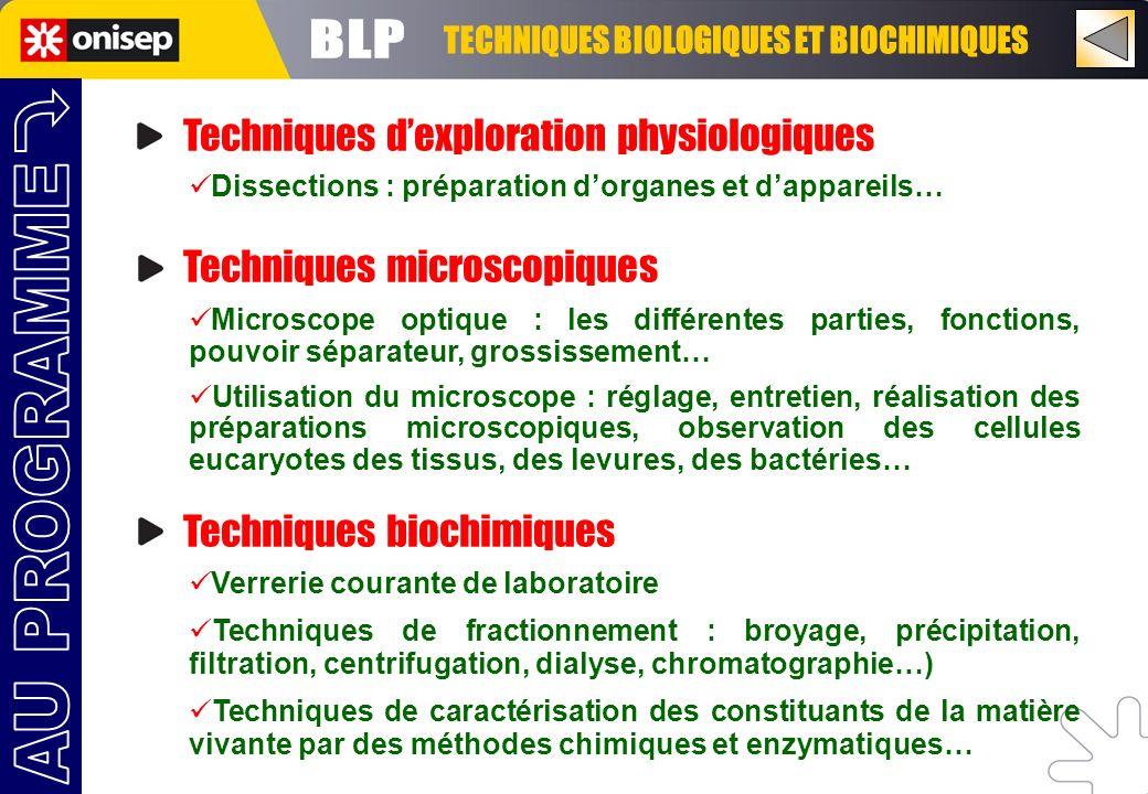 TECHNIQUES BIOLOGIQUES ET BIOCHIMIQUES