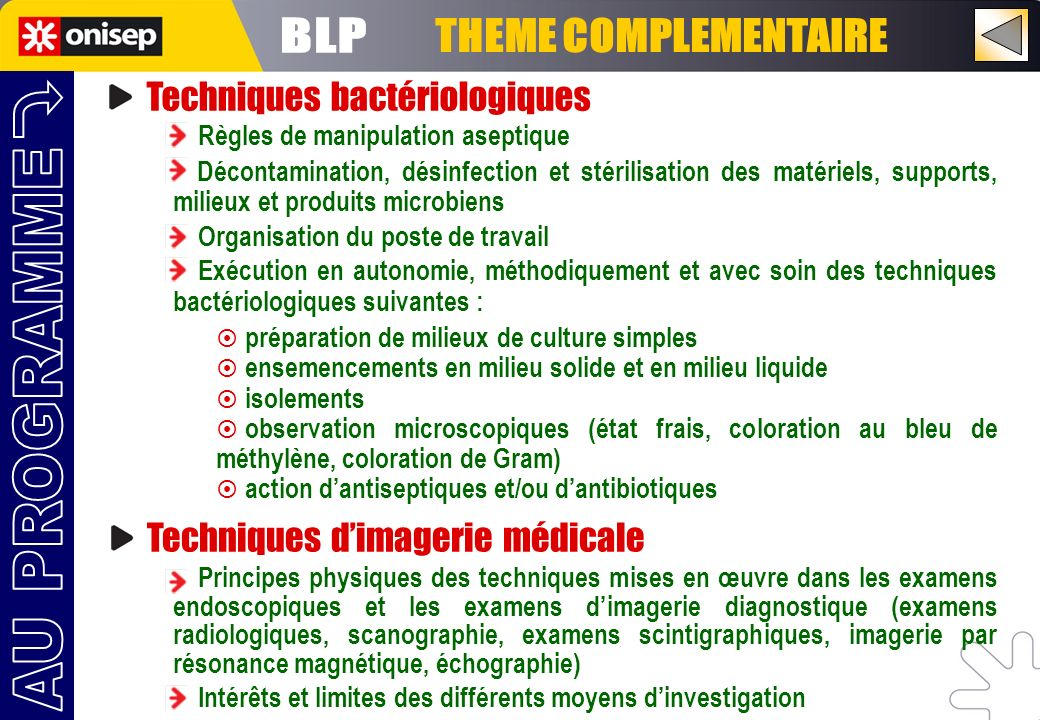 BLP THEME COMPLEMENTAIRE AU PROGRAMME Techniques bactériologiques