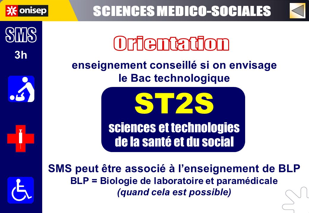 ST2S SCIENCES MEDICO-SOCIALES SMS Orientation sciences et technologies