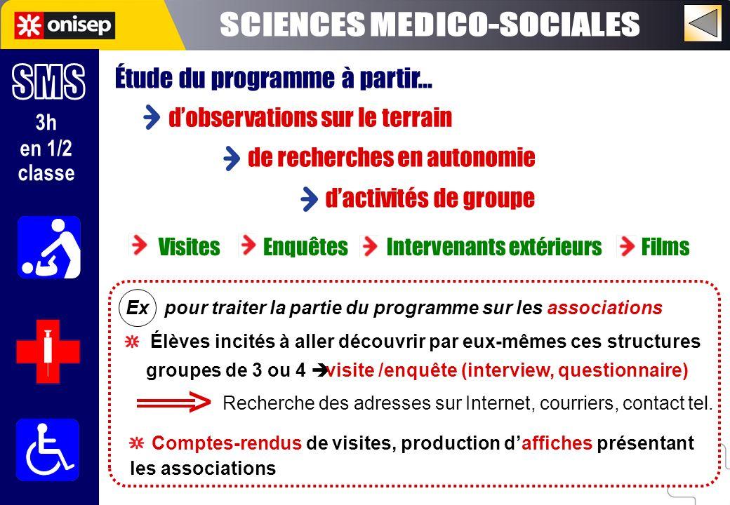 > SCIENCES MEDICO-SOCIALES SMS Étude du programme à partir…