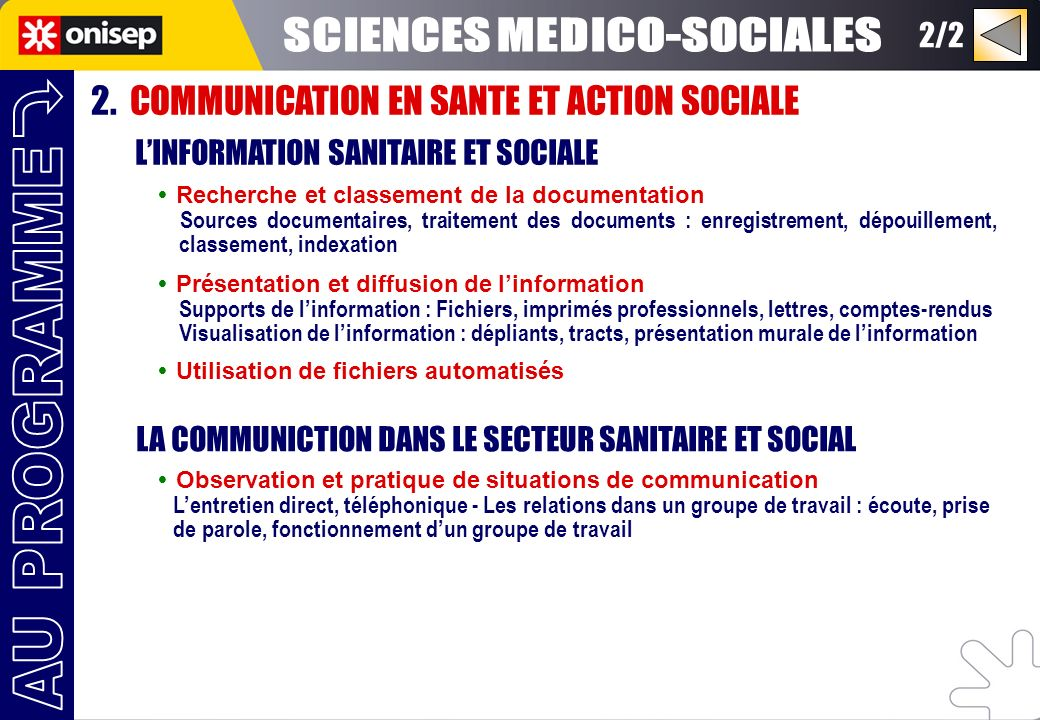 SCIENCES MEDICO-SOCIALES