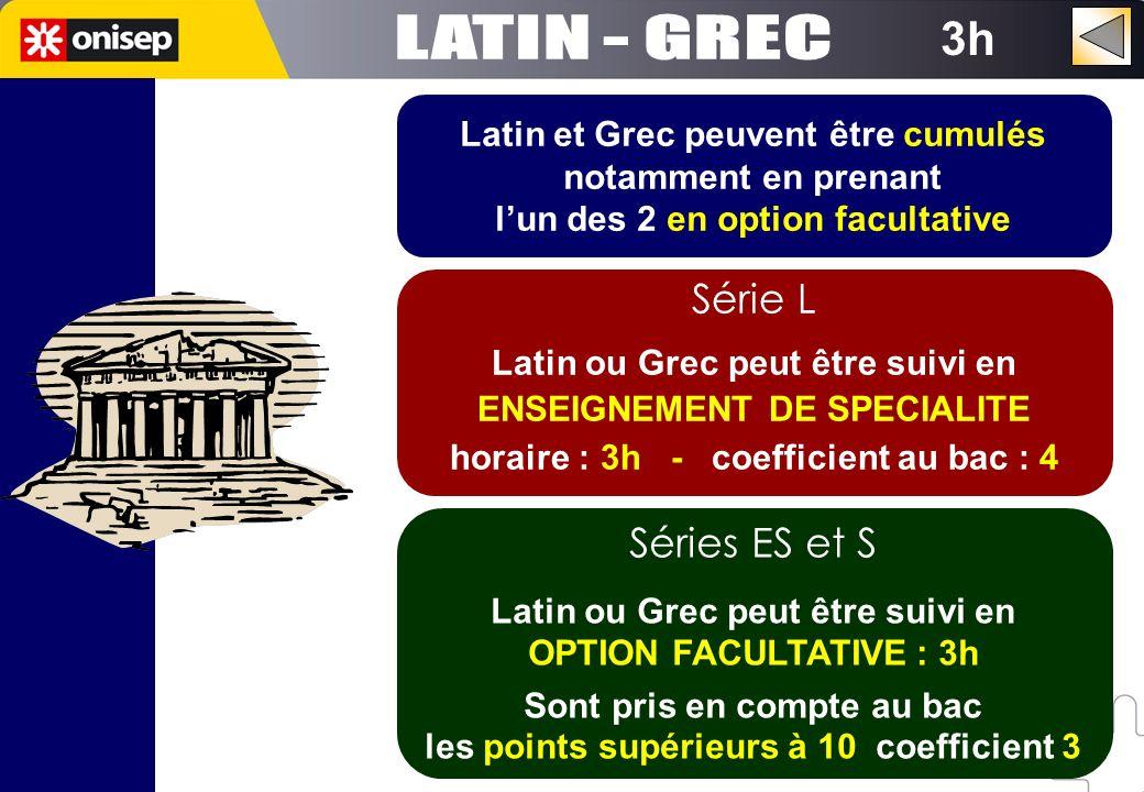 LATIN - GREC 3h Série L Séries ES et S