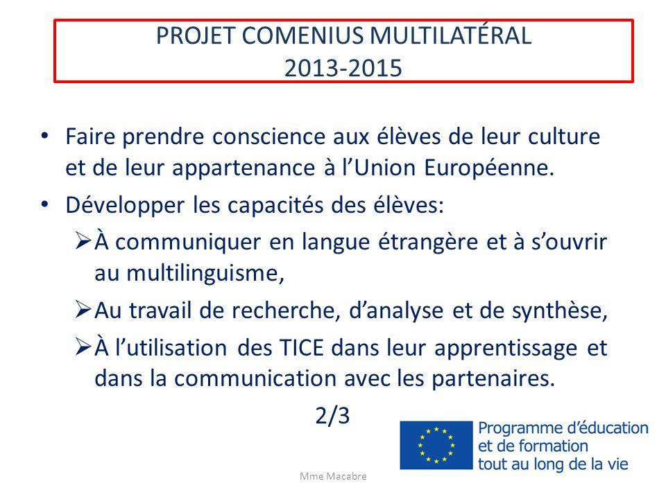 PROJET COMENIUS MULTILATÉRAL 2013-2015