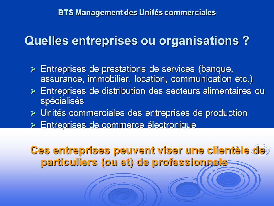 BTS Management des Unités commerciales Quelles entreprises ou organisations